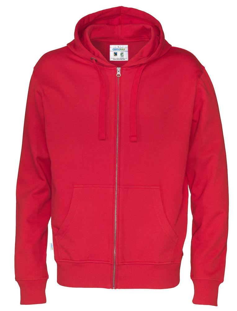 Full Zip Hood Man röd