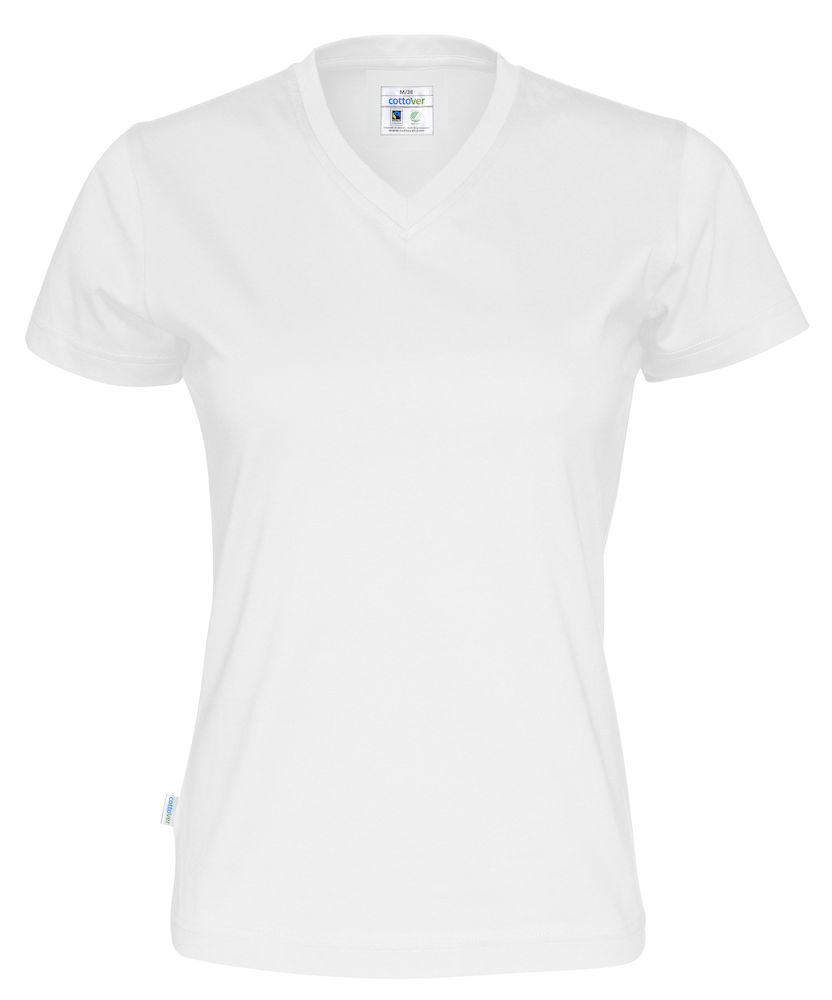 T-Shirt V-Neck Lady vit