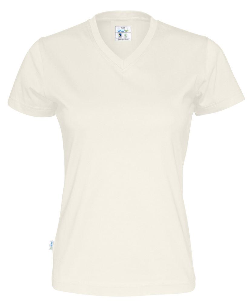 T-Shirt V-Neck Lady Offwhite