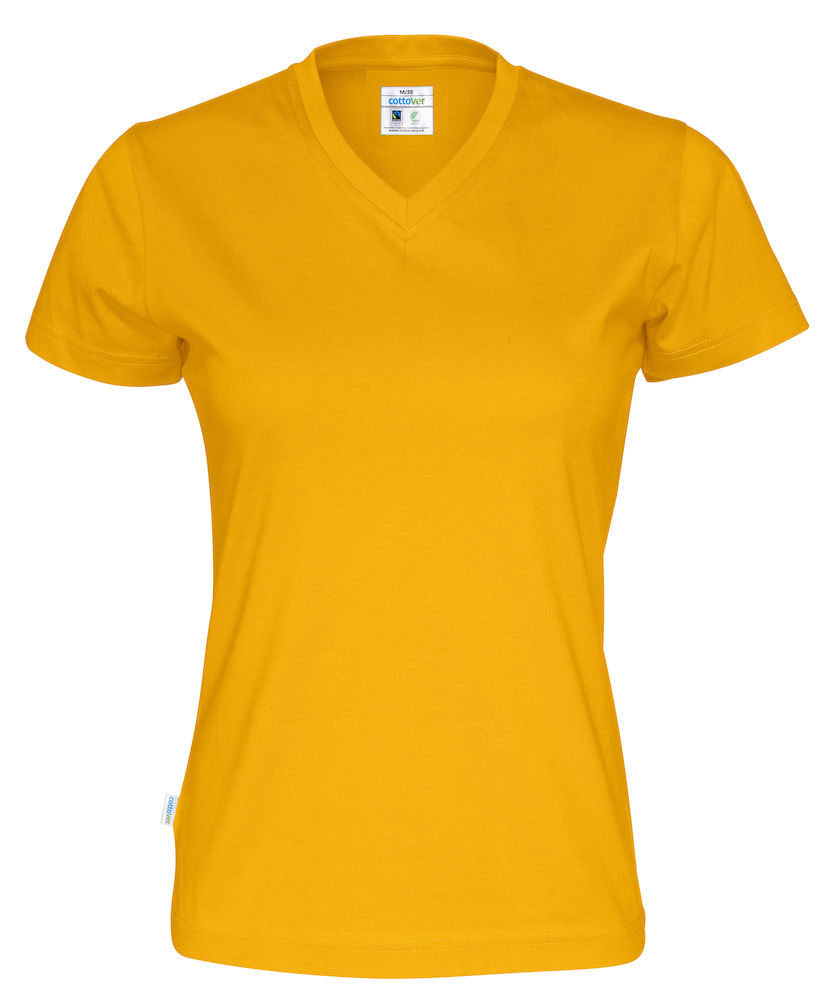T-Shirt V-Neck Lady Yellow