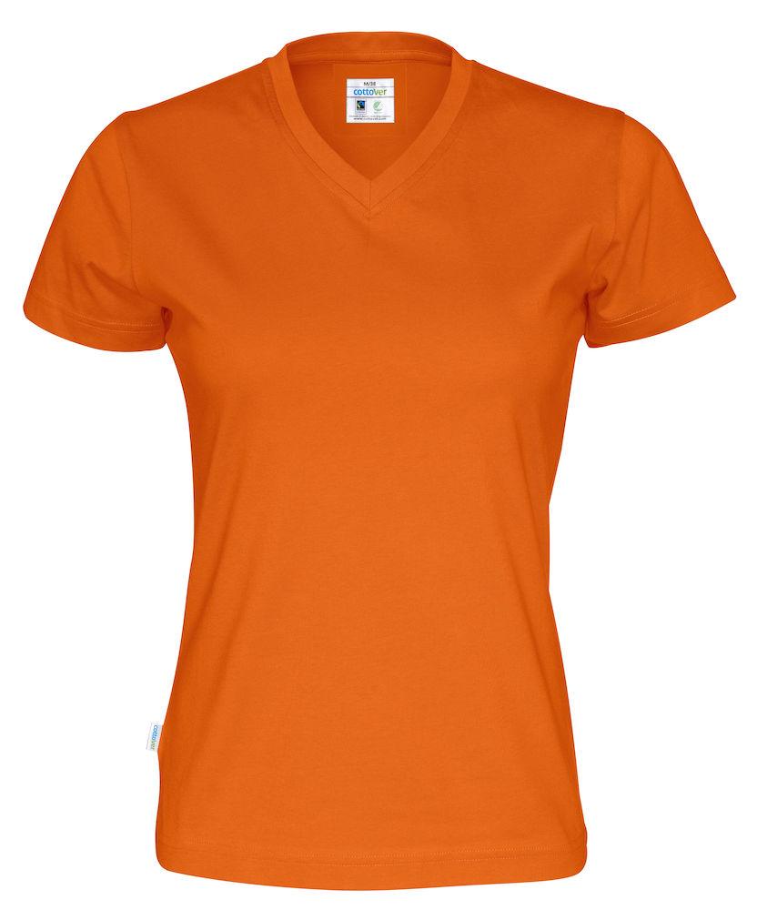 T-Shirt V-Neck Lady Orange