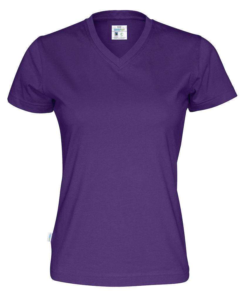 T-Shirt V-Neck Lady Purple