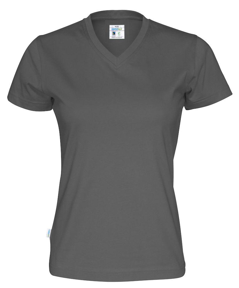 T-Shirt V-Neck Lady Charcoal