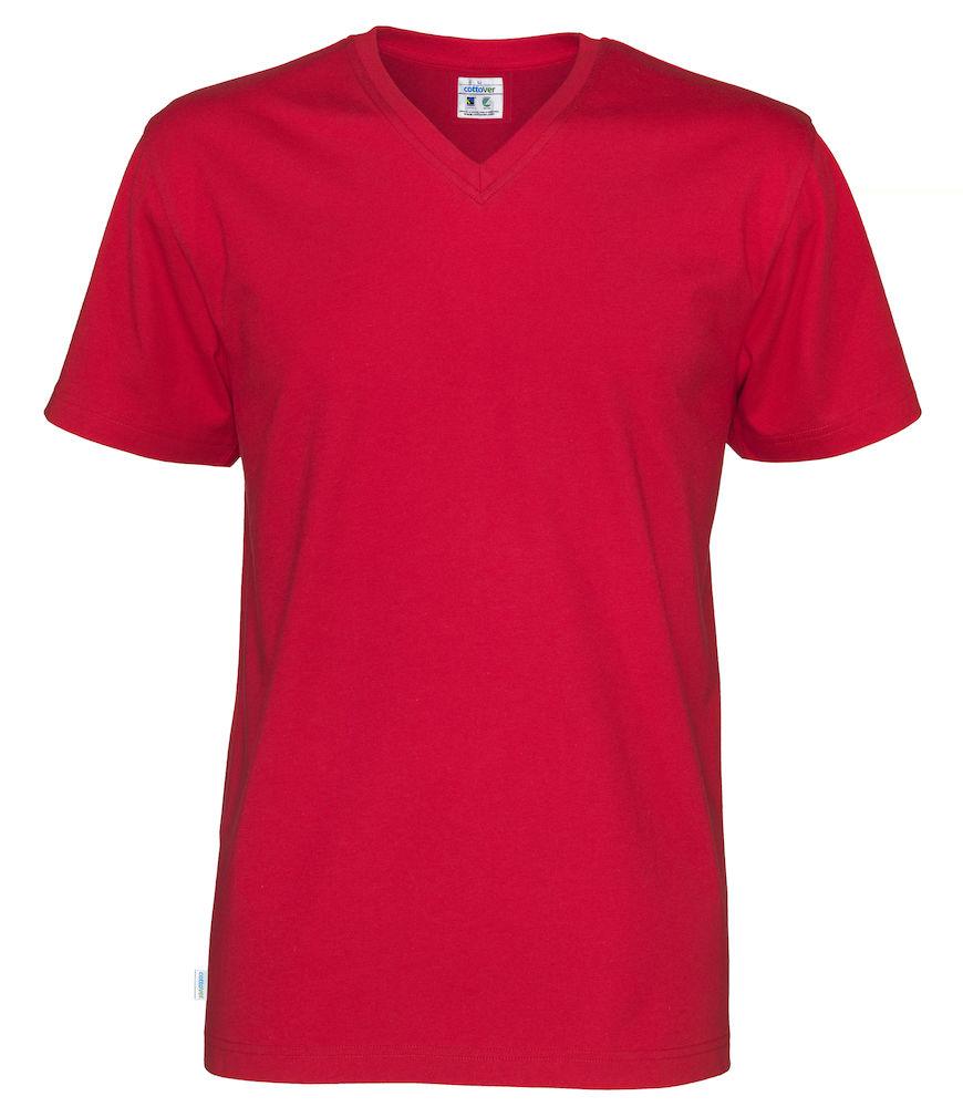 T-Shirt V-Neck Man röd