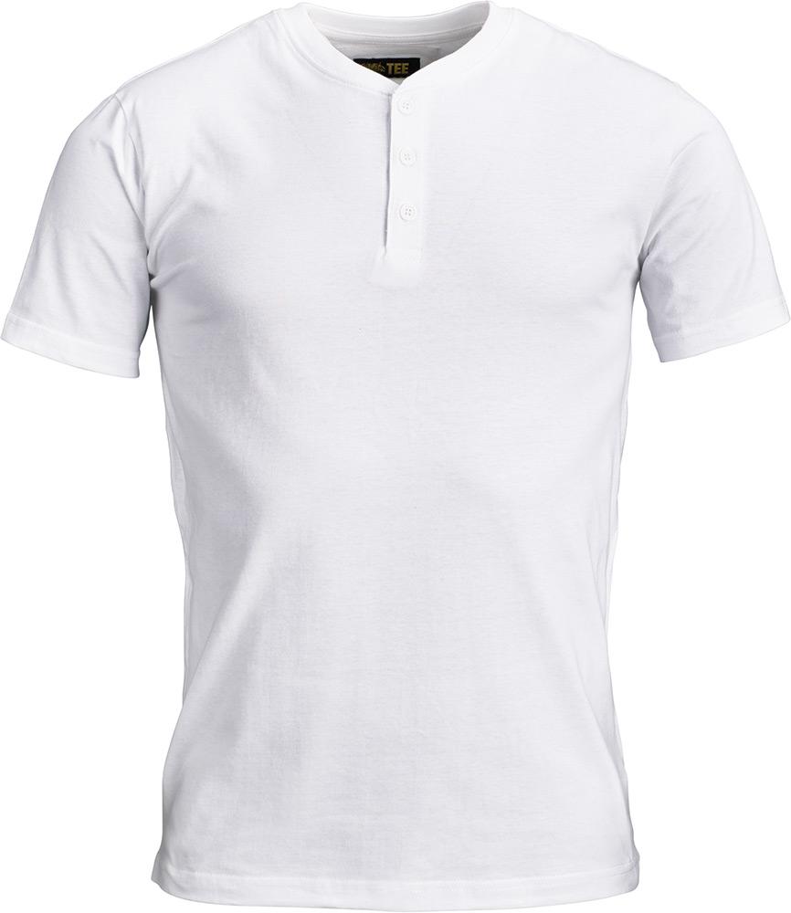 T-Shirt Tee Gold Button Vit