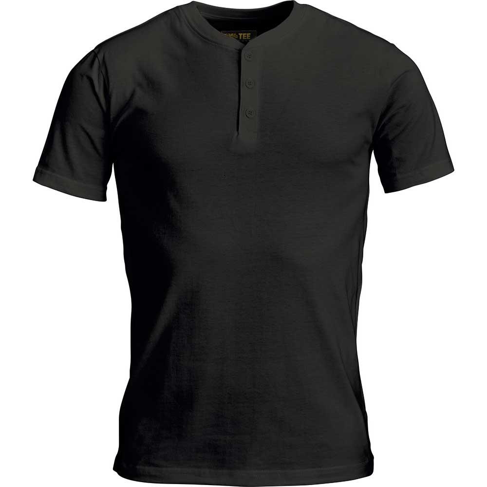 T-Shirt Tee Gold Button Svart