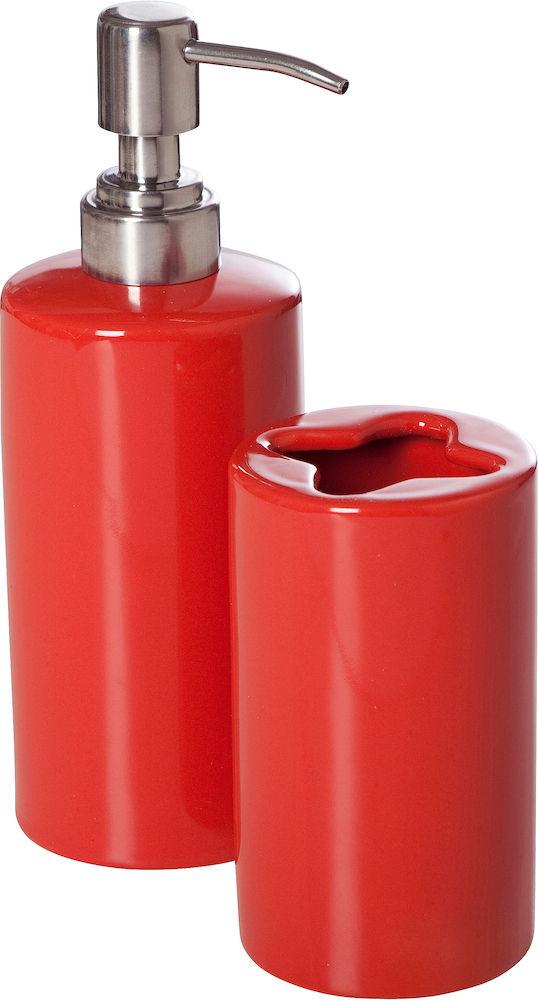 Badrums-set - tvålpump, mugg & tvål röd